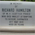 Gravemarker– The grave of Richard Hamilton, in Alexandria Brtish Protestant cemetery. He lies next to his other shipmates.
