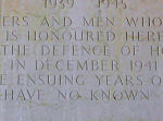 Inscription– Dedicatory inscription of the SAI WAN MEMORIAL.  This memorial  bears the names of more than 2,000 Commonwealth servicemen, including 228 Canadians