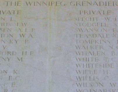 Inscription– Private VICTOR ROSS is one of 27 members of the Winnipeg Grenadiers, Royal Canadian Infantry Corps who are commemorated on this panel of the Sai Wan Memorial.  He was one of 290 Canadian soldiers killed during the defense of Hong Kong, from December 8th to December 25th, 1941.