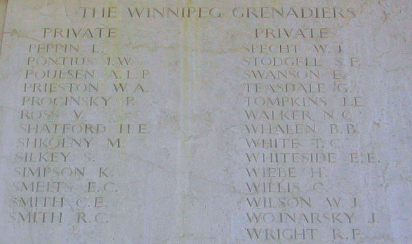 Inscription– Private CECIL ERNEST SMITH is one of 27 members of the Winnipeg Grenadiers, Royal Canadian Infantry Corps who are commemorated on this panel of the Sai Wan Memorial.  He was one of 290 Canadian soldiers killed during the defense of Hong Kong, from December 8th to December 25th, 1941.