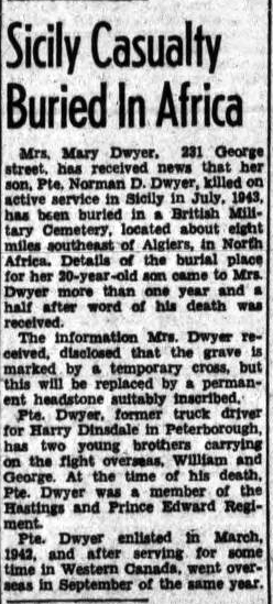 Newspaper clipping– NORMAN DWYER BURIAL AFRICA
