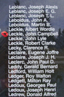 Memorial– Sergeant John Campbell Leckie is also commemorated on the Bomber Command Memorial Wall in Nanton, AB … photo courtesy of Marg Liessens