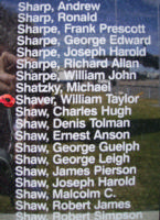 Memorial– Flight Sergeant William Taylor Shaver is commemorated on the Bomber Command Memorial Wall in Nanton, AB … photo courtesy of Marg Liessens