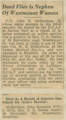 Press Clipping– Pilot Officer John Kenneth McKechnie obit Montreal Star Jul 16 1942 courtesy McGill University archives