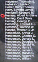 Memorial– Flight Sergeant Albert Anthony Hemery is also commemorated on the Bomber Command Memorial Wall in Nanton, AB … photo courtesy of Marg Liessens
