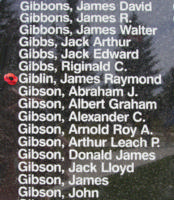 Memorial– Flight Sergeant James Raymond Giblin is also commemorated on the Bomber Command Memorial Wall in Nanton, AB … photo courtesy of Marg Liessens