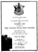 Certificate– McQuillan Lake Dedication
