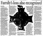 Newspaper Clipping– Comox Valley Newspaper article by Jennifer Blyth. Families loss also recognized.
