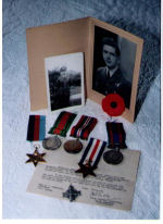 Medals– Murray's Medals. 1939-45 Star, France Star, German Star, the Defense Medal, the Canadian Volunteer Service Medal with clasp, and the War Medal 1939-45