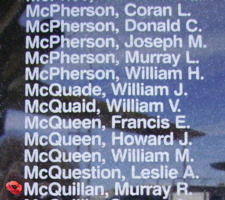 Memorial– Flight Lieutenant Navigator Murray Robert McQuillan is also commemorated on the Bomber Command Memorial Wall in Nanton, AB … photo courtesy of Marg Liessens