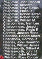 Memorial– Flight Lieutenant Ross Conger Charlton is also commemorated on the Bomber Command Memorial Wall in Nanton, AB … photo courtesy of Marg Liessens