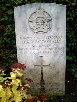 Grave Marker– Photo of grave marker courtesy of Carin Olofsson   When it was lost, Lancaster ED588 of #50 (RAF) Sqn had completed 128 operations and had a total of 1152 hours.  The last raid was to Konigsbergh on 29/30 Aug 44.   The aircraft crashed at Vittsjo, Sweden, and the bomb load exploded.  F/S MacDonald was Bomb Aimer and the only Canadian on board. ED588 was one of four 50 Squadron Lancasters lost on this operation.