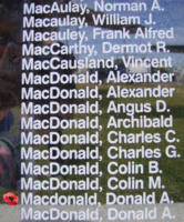 Memorial– Flight Sergeant Donald Alastair MacDonald is also commemorated on the Bomber Command Memorial Wall in Nanton, AB … photo courtesy of Marg Liessens