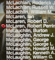 Memorial– Pilot Officer Robert Perrin McLaren is also commemorated on the Bomber Command Memorial Wall in Nanton, AB … photo courtesy of Marg Liessens