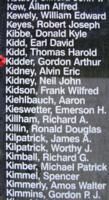 Memorial– Flight Lieutenant Gordon Arthur Kidder is also commemorated on the Bomber Command Memorial Wall in Nanton, AB … photo courtesy of Marg Liessens