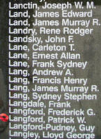 Memorial– Flight Lieutenant Patrick Wilson Langford is also commemorated on the Bomber Command Memorial Wall in Nanton, AB … photo courtesy of Marg Liessens