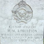 Grave Marker– Headstone of Sgt HM Roberston at Poznan War Cemetry in Poland.