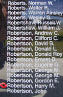 Memorial– Sergeant Harry Malcolm Robertson is also commemorated on the Bomber Command Memorial Wall in Nanton, AB … photo courtesy of Marg Liessens