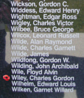 Memorial– Flight Lieutenant George William Wiley is also commemorated on the Bomber Command Memorial Wall in Nanton, AB … photo courtesy of Marg Liessens