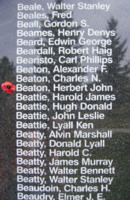 Memorial– Flying Officer Herbert John Beaton is also commemorated on the Bomber Command Memorial Wall in Nanton, AB … photo courtesy of Marg Liessens