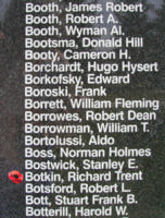 Memorial– Flight Lieutenant Air Gunner Richard Trent Botkin is also commemorated on the Bomber Command Memorial Wall in Nanton, AB … photo courtesy of Marg Liessens