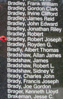 Memorial– Pilot Officer Robert Joseph Bradley is also commemorated on the Bomber Command Memorial Wall in Nanton, AB … photo courtesy of Marg Liessens