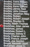Memorial– Sergeant Allan James Bradshaw is also commemorated on the Bomber Command Memorial Wall in Nanton, AB … photo courtesy of Marg Liessens