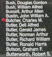 Memorial– Flying Officer Charles Merton Butcher is also commemorated on the Bomber Command Memorial Wall in Nanton, AB … photo courtesy of Marg Liessens