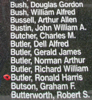 Memorial– Flight Sergeant Ronald Harris Butler is also commemorated on the Bomber Command Memorial Wall in Nanton, AB … photo courtesy of Marg Liessens