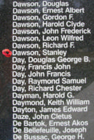 Memorial– Pilot Officer Stanley Dawson is also commemorated on the Bomber Command Memorial Wall in Nanton, AB … photo courtesy of Marg Liessens