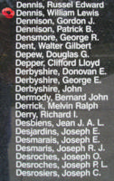Memorial– Flying Officer William Lewis Dennis is also commemorated on the Bomber Command Memorial Wall in Nanton, AB … photo courtesy of Marg Liessens