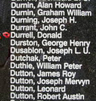 Memorial– Sergeant Donald Durrell is also commemorated on the Bomber Command Memorial Wall in Nanton, AB … photo courtesy of Marg Liessens