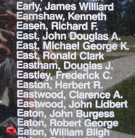 Memorial– Flight Sergeant William Bligh Eaton is also commemorated on the Bomber Command Memorial Wall in Nanton, AB … photo courtesy of Marg Liessens