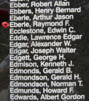 Memorial– Pilot Officer Raymond Frederick Eberle is also commemorated on the Bomber Command Memorial Wall in Nanton, AB … photo courtesy of Marg Liessens