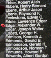 Memorial– Flying Officer Alexander William Edgar is also commemorated on the Bomber Command Memorial Wall in Nanton, AB … photo courtesy of Marg Liessens