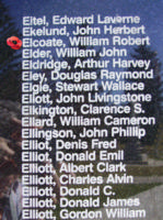 Memorial– Flight Lieutenant Air Bomber William Robert Elcoate is also commemorated on the Bomber Command Memorial Wall in Nanton, AB … photo courtesy of Marg Liessens