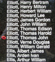 Memorial– Flying Officer Thomas John Elliott is also commemorated on the Bomber Command Memorial Wall in Nanton, AB … photo courtesy of Marg Liessens
