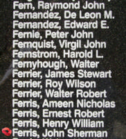 Memorial– Warrant Officer Class II John Sherman Ferris is also commemorated on the Bomber Command Memorial Wall in Nanton, AB … photo courtesy of Marg Liessens