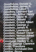 Memorial– Flight Lieutenant Hedley Charles Cormick Goodyear is also commemorated on the Bomber Command Memorial Wall in Nanton, AB … photo courtesy of Marg Liessens