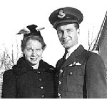 Photo of Howard James Gould– Howard James Gould with his sister, Mary Young, while on embarkation leave in Maryfield, Saskatchewan.  This was a time of great pride for the Gould family, since Howie was the first young man from the village to achieve officer rank.  He was the subject of great admiration, and looked most handsome in his smart new uniform, with the Pilot Officer braid, and the pilot's wings.