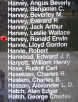 Memorial– Pilot Officer Ronald Erwin (Ronnie) Harvey is also commemorated on the Bomber Command Memorial Wall in Nanton, AB … photo courtesy of Marg Liessens