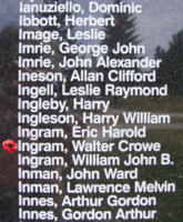 Memorial– Flying Officer Walter Crowe Ingraham as commemorated on the Bomber Command Memorial Wall in Nanton, AB … photo courtesy of Marg Liessens