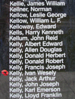 Memorial– Pilot Officer Ivan Wesley Kelly as commemorated on the Bomber Command Memorial Wall in Nanton, AB … photo courtesy of Marg Liessens