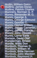 Memorial– Pilot Officer James Doran Muillins is also commemorated on the Bomber Command Memorial Wall in Nanton, AB … photo courtesy of Marg Liessens
