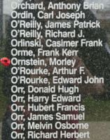 Memorial– Flying Officer Morley Ornstein is also commemorated on the Bomber Command Memorial Wall in Nanton, AB … photo courtesy of Marg Liessens