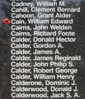 Memorial– WO II Air Gunner William Edward Cain is also commemorated on the Bomber Command Memorial Wall in Nanton, AB … photo courtesy of Marg Liessens