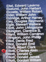 Memorial– Pilot Officer Charlie Alvin Elliott is also commemorated on the Bomber Command Memorial Wall in Nanton, AB … photo courtesy of Marg Liessens