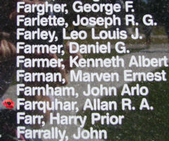 Memorial– Flying Officer Allan Ronald Armitage Farquhar is also commemorated on the Bomber Command Memorial Wall in Nanton, AB … photo courtesy of Marg Liessens