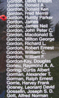 Memorial– Flying Officer Huntly Parker Gordon is also commemorated on the Bomber Command Memorial Wall in Nanton, AB … photo courtesy of Marg Liessens