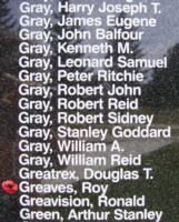 Memorial– Flying Officer Roy Greaves is also commemorated on the Bomber Command Memorial Wall in Nanton, AB … photo courtesy of Marg Liessens
